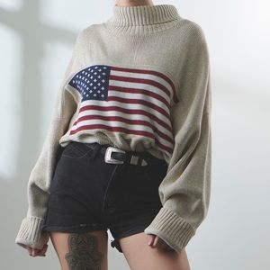 Vintage Oversized American Flag Pullover Sweater